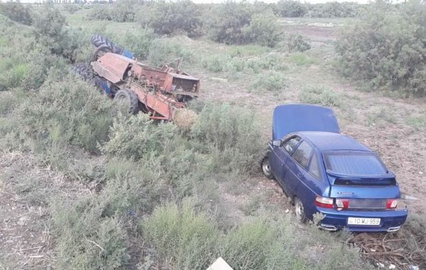 Kürdəmirdə avtomobil traktorla toqquşdu: Bir nəfər yaralandı