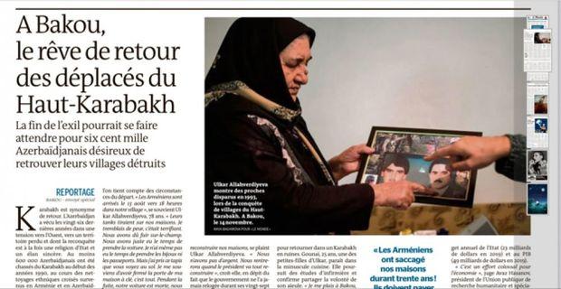 """""""Le Monde"""" azərbaycanlı köçkünlərin işğaldan azad edilmiş doğma torpaqlarına qayıtmaq arzularından yazır"""