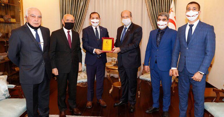 Şimali Kiprin prezidenti Orxan Həsənoğlunu qəbul etdi – FOTO