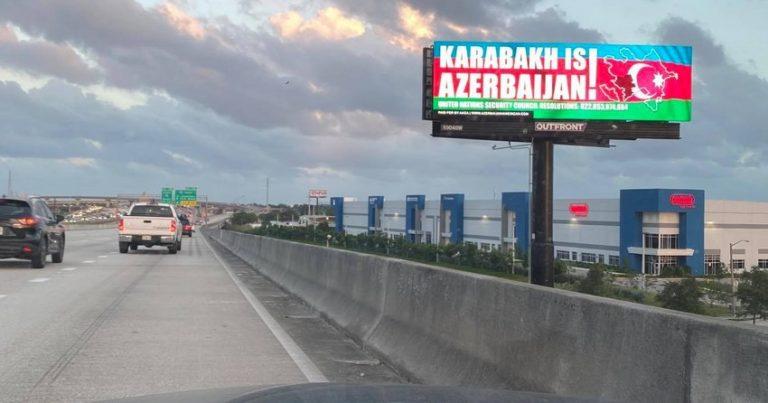 """ABŞ-ın ermənilərin sıx yaşadığı yerlərində """"Qarabağ Azərbaycandır"""" lövhələri quraşdırılıb"""