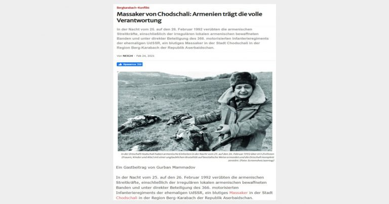 Almaniya mətbuatında Xocalı qətliamına görə Ermənistan ittiham edilib