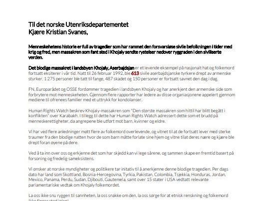 Diaspor təşkilatı Norveç hökumətini Xocalı soyqırımınıtanımağa çağırıb