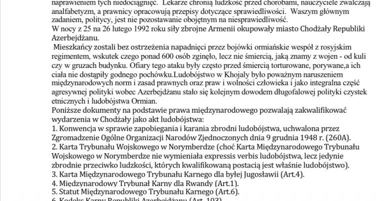 Soydaşlarımız Polşa seymini Xocalı soyqırımını tanımağa çağırıblar
