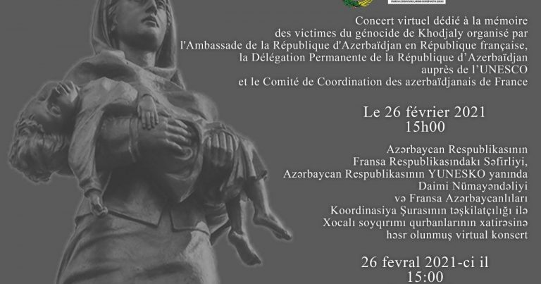 Parisdə Xocalı soyqırımı qurbanlarının xatirəsinə onlayn konsert təşkil edilib