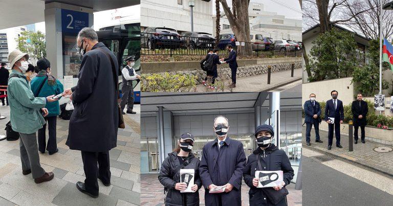 """Tokio sakinlərinə üzərində """"Xocalıya ədalət!"""" yazılmış tibbi maskalar paylanılıb"""