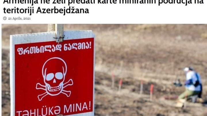 Bosniya mediası minalaşdırılmış ərazilərlə bağlı Ermənistanın yolverilməz davranışından bəhs edib