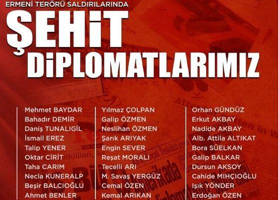 Türkiyə XİN erməni terrorunun qurbanı olan diplomatlarının adlarını paylaşdı – FOTO