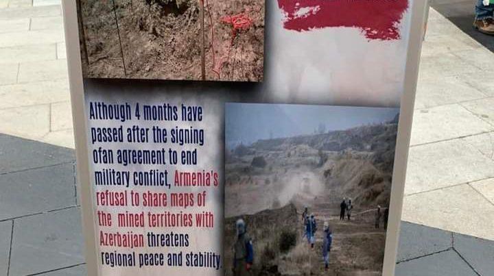Stokholm şəhərində Ermənistan tərəfindən mina xəritəsinin verilməməsinə etiraz olaraq aksiya keçirilib