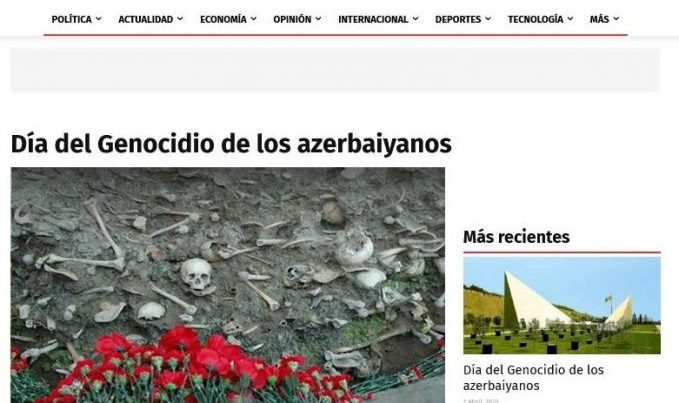 Peru mətbuatında 31 mart soyqırımı barədə məqalələr dərc olundu