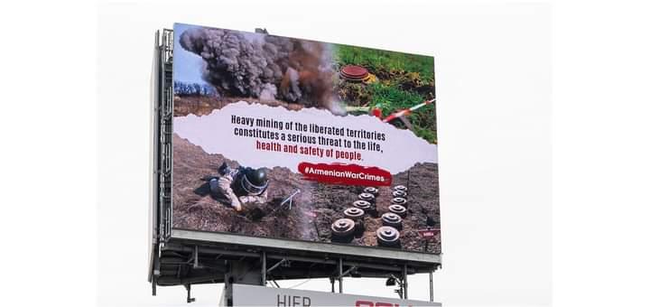 Niderlandda Ermənistan tərəfindən minalanmış Azərbaycan ərazilərilə bağlı bilbordlar yerləşdirilib