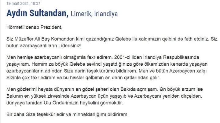 Xaricdə yaşayan soydaşlarımız Azərbaycan dövlətinə dəstəklərini bəyan edirlər