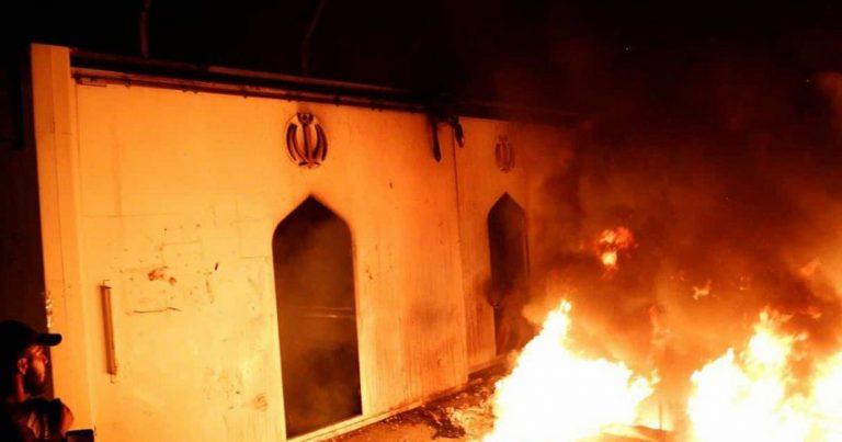 İranın İraqdakı konsulluğunun binası yandırılıb