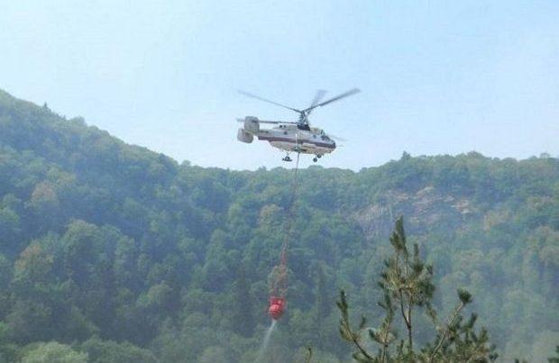 Nabran yaxınlığında baş vermiş yanğını söndürmək üçün helikopter cəlb olundu